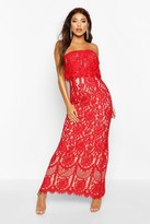 boohoo Boutique Scallop Lace Bandeau Maxi Dress