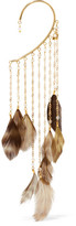 Rosantica Selva Gold-tone Feather And Bead Ear Cuff - one size