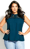 City Chic Lace Angel Top - emerald