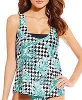 Gianni Bini Tropical Houndstooth Double Up Tankini