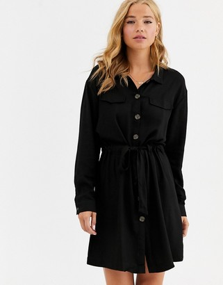 Cotton On Cotton:On Elle belted shirt dress-Black
