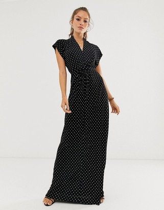 French Connection polka dot print maxi wrap dress-Black