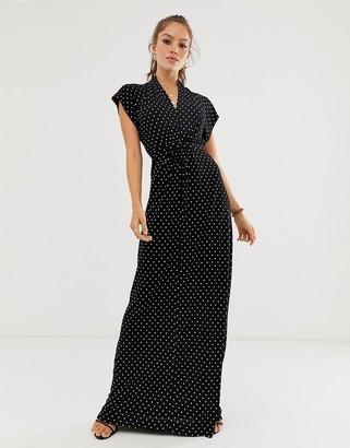 French Connection polka dot print maxi wrap dress