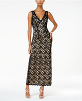 Connected Scalloped Lace Column Gown