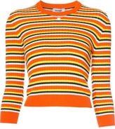 Courreges Striped Hem Long Sleeve Sweater - Orange