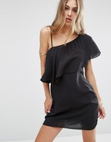 MANGO One Shoulder Ruffle Cheesecloth Dress