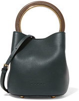 Marni Pannier Leather Mini Bucket Bag - Forest green