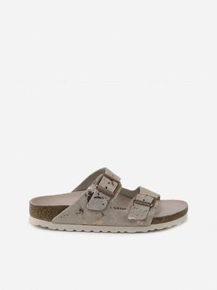 Birkenstock Pink Arizona Suede & Metal Leather Sandals