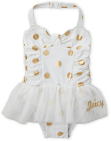 Juicy Couture Infant Girls) Metallic Polka Dot One-Piece Swimsuit