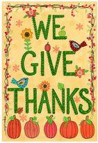 """Evergreen We Give Thanks"""" Pumpkin Indoor / Outdoor Garden Flag"""