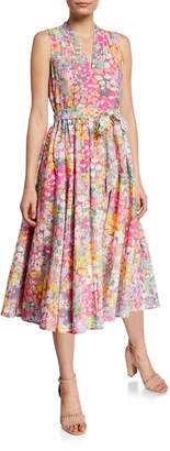 Kate Spade floral dots burnout sleeveless midi dress