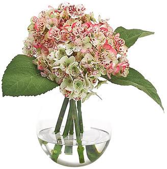 """15"""" Hydrangea in Bubble Vase - Faux - NDI - arrangement, pink/green; vessel, clear"""
