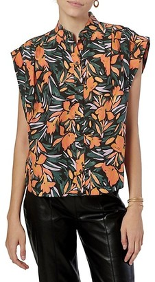 Unna Floral Pleated Silk Blouse