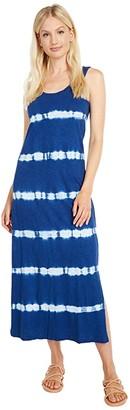 Lucky Brand Easy Knit Maxi Dress (Blue Tie-Dye Stripe) Women's Clothing