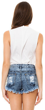 Reverse The Spiked Distressed Denim Short