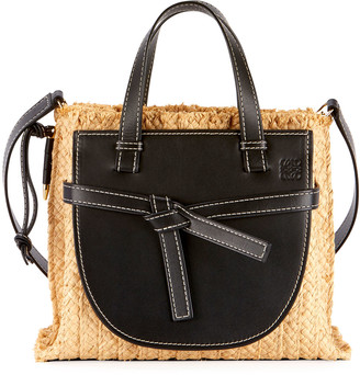Loewe Gate Small Raffia Top-Handle Tote Bag