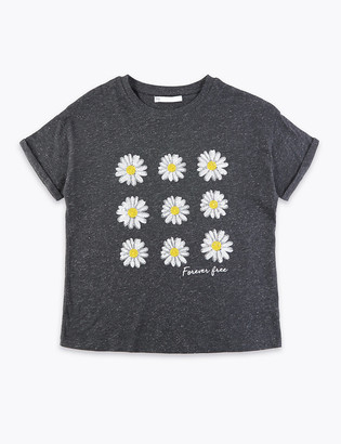 Marks and Spencer Cotton Sequin Daisy T-Shirt (6-16 Yrs)