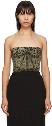Dolce & Gabbana Tan Leopard Print Tulle Bustier