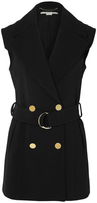 Stella McCartney Belted Double-breasted Wool-blend Vest