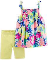 Carter's Baby Girls 2-Pc. Floral-Print Tunic and Shorts Set