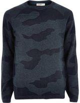 River Island MensNavy camo Jack & Jones Vintage sweater