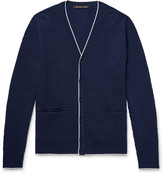 Michael Kors - Contrast-tipped Basketweave Knitted Cardigan