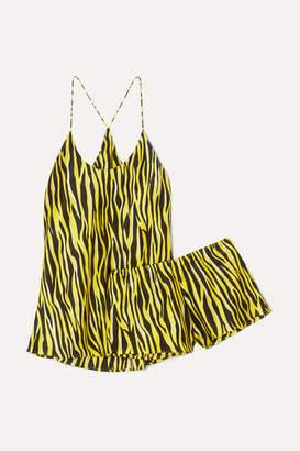 Olivia von Halle Bella Printed Silk-satin Pajama Set - Bright yellow