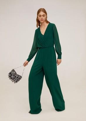 MANGO Draped detail jumpsuit emerald green - M - Women