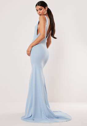 Missguided Bridesmaid Blue Sleeveless Low Back Maxi Dress