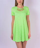 Neon Green Stripe T-Shirt Dress