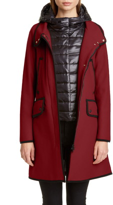 Herno Contrast Trim A-Line Coat with Removable Windblocker
