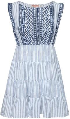 Ermanno Scervino Sleeveless Striped Linen Mini Dress