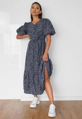 Missguided Blue Leopard Print Puff Sleeve Midi Dress