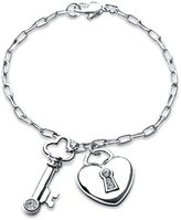 Bling Jewelry Sterling Silver Pave CZ Heart Lock and Key Charm Bracelet 7in with Engraving
