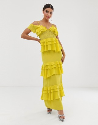 Forever U tiered maxi dress with panelling in yellow