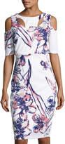 Jax Floral-Print Cold-Shoulder Sheath Dress, White Pattern