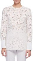 Lanvin Long-Sleeve Lace Blouse, Ivory