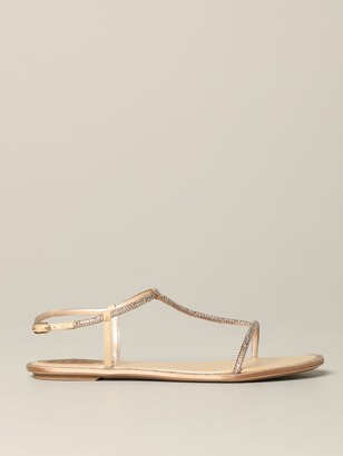 Rene Caovilla Flat Sandals Leather Sandal With Rhinestones