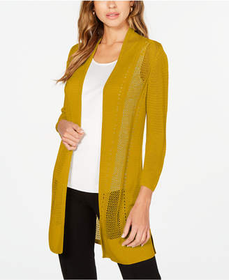 Alfani Long Mixed-Stitch Completer Cardigan