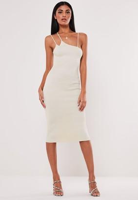 Missguided Petite Cream Rib Multi Strap Knitted Midi Dress