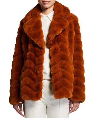 Milly Chevron Faux-Fur Coat