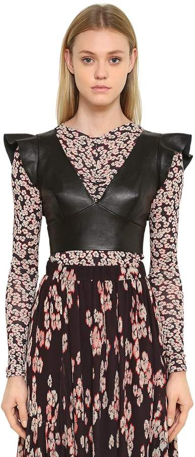 Isabel Marant Ruffled Leather Crop Top