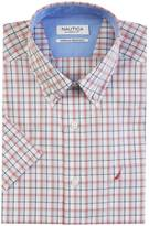 Nautica Classic Fit Wrinkle Resistant Coral Plaid Short Sleeve Shirt