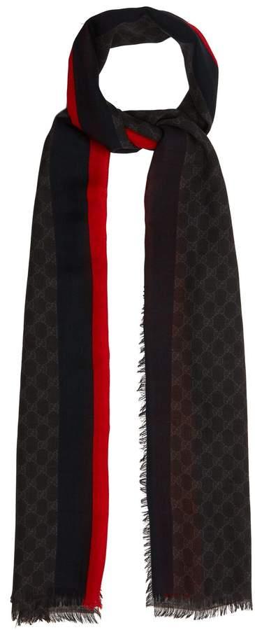 Gucci GG Supreme-print scarf with stripe