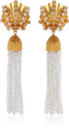 Bounkit Tasseled Quartz And Aquamarine Earrings