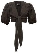 Lisa Marie Fernandez Pouf Balloon-sleeve Tie-front Linen-blend Top - Womens - Black
