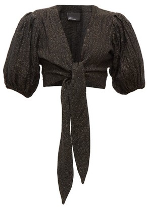Lisa Marie Fernandez Pouf Balloon-sleeve Tie-front Linen-blend Top - Womens - Black