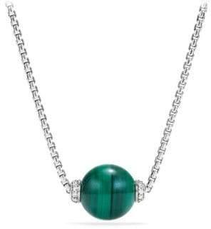 David Yurman Solari Diamond & Malachite Pendant Necklace