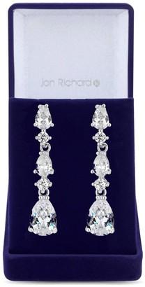 Jon Richard Jewellery Jon Richard Rhodium Plated Clear Cubic Zirconia Graduated Pear Drop Earring