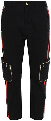 P.E Nation The Warrior Cropped Striped Straight-leg Jeans